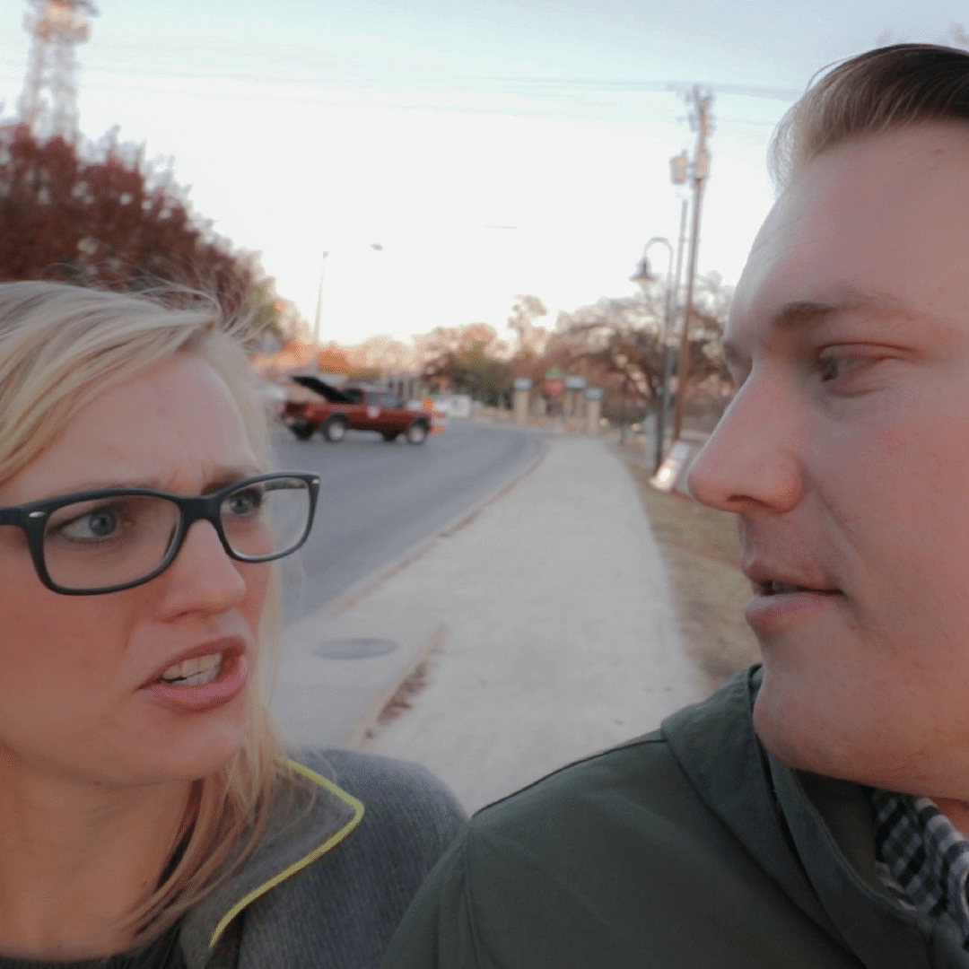 """Jason Miller and Rae Miller looking at each other saying """"We suck"""""""