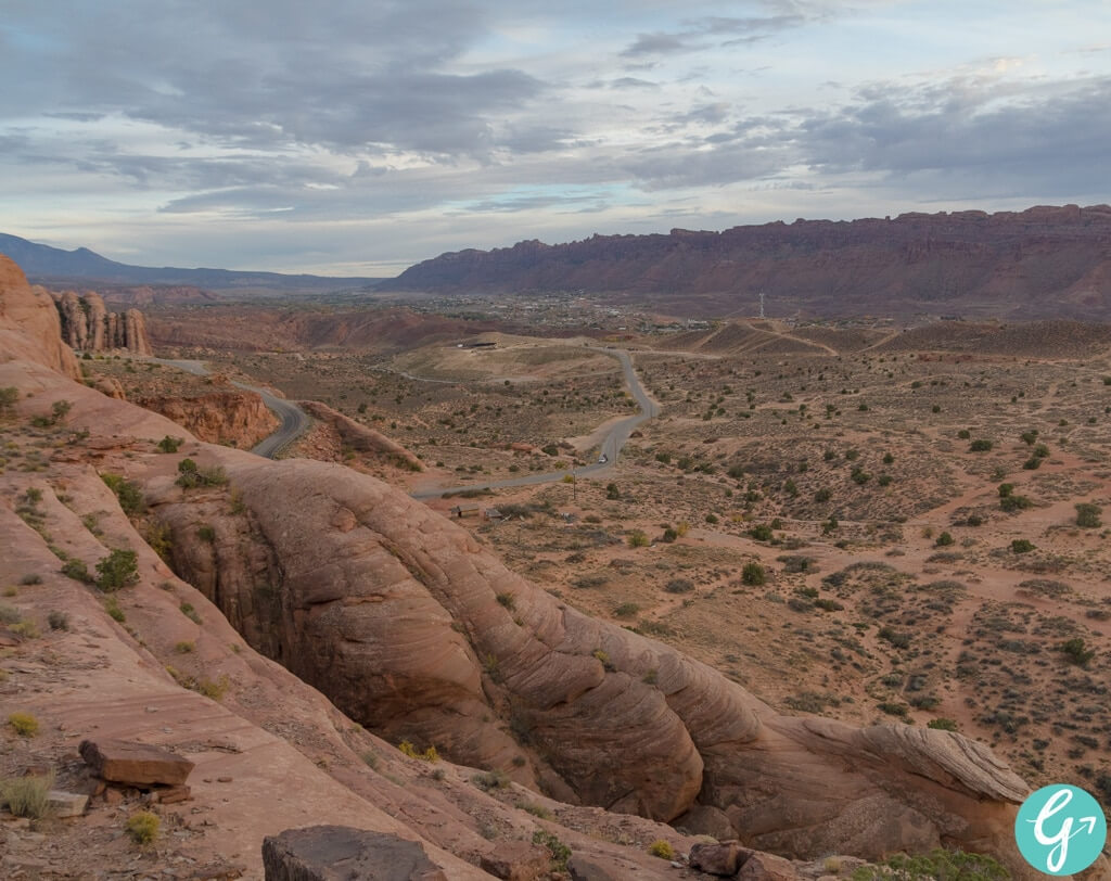 View of Moab, UT from the top of the Devils Backbone on the Hell's Revenge Trail