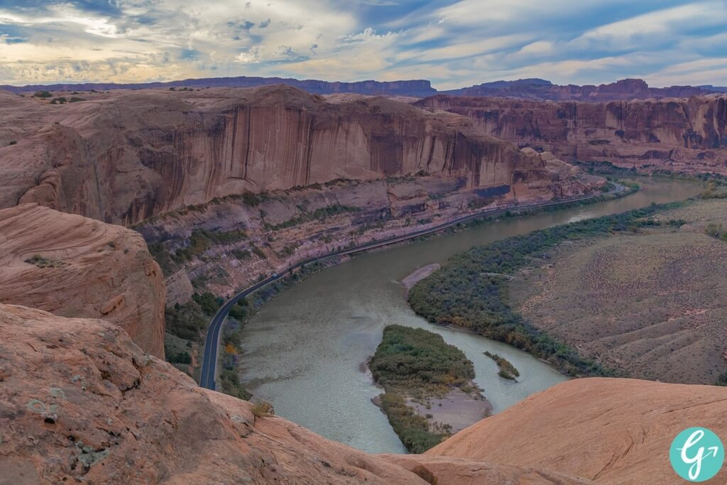View of the Colorado River from the Hell's Revenge Trail in Moab, UT