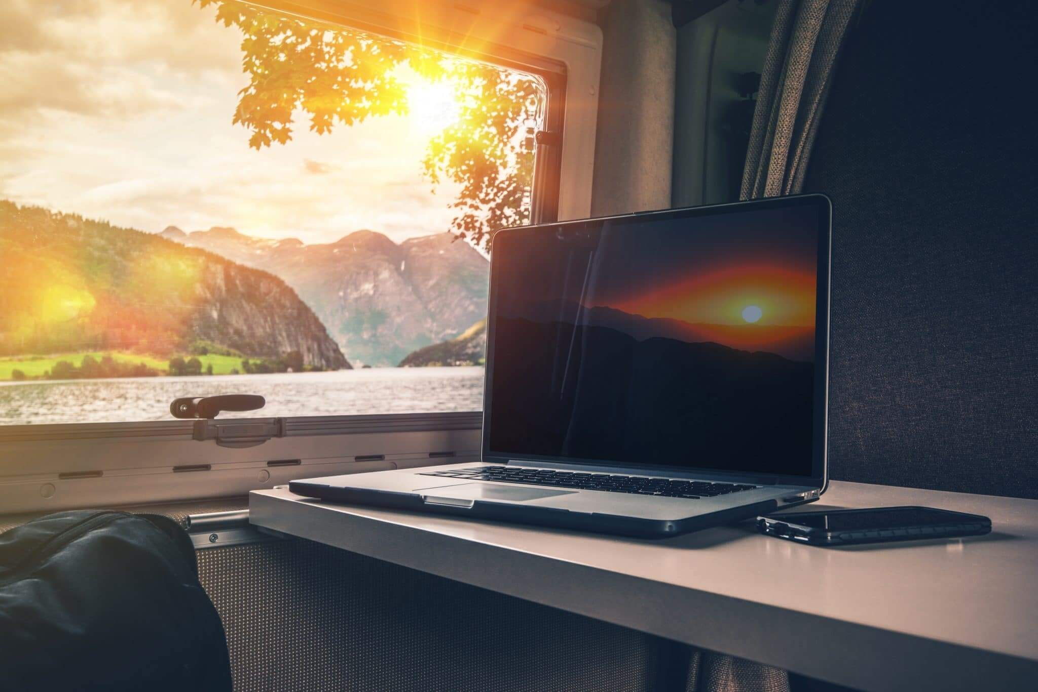 Laptop on table in RV with great internet