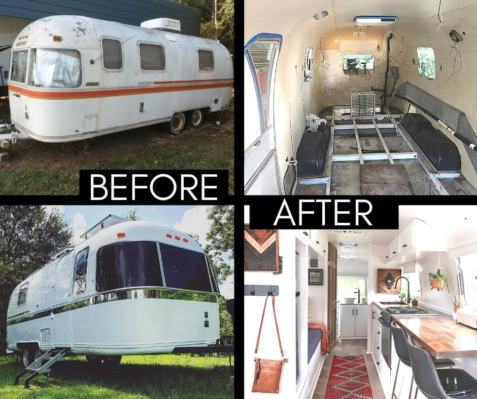 Before and After images of Drivin and Vibin's Airstream Argosy renovation