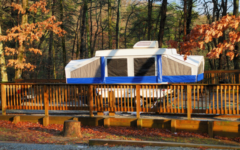 Pop up Camper in the fall out camping