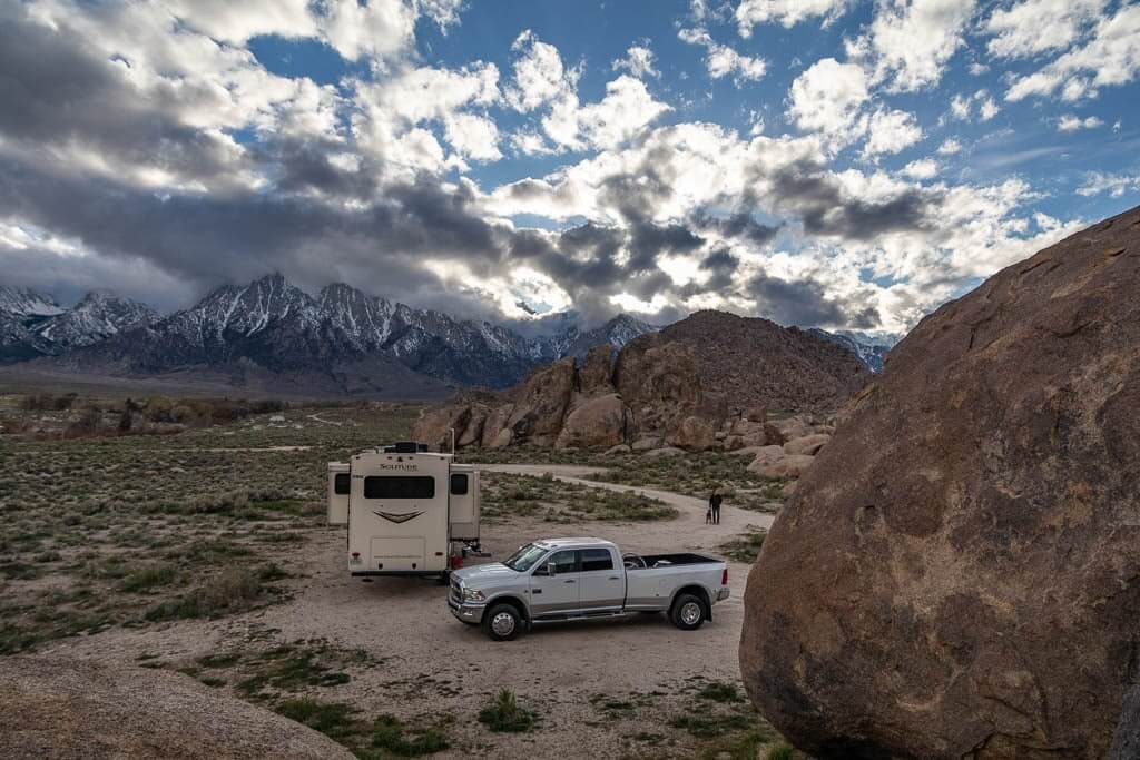 Getaway Couple uses the full-time RV living tip of Boondocking to save money. They are camped in the Alabama Hills, CA at the base of Mt. Whitney for free.