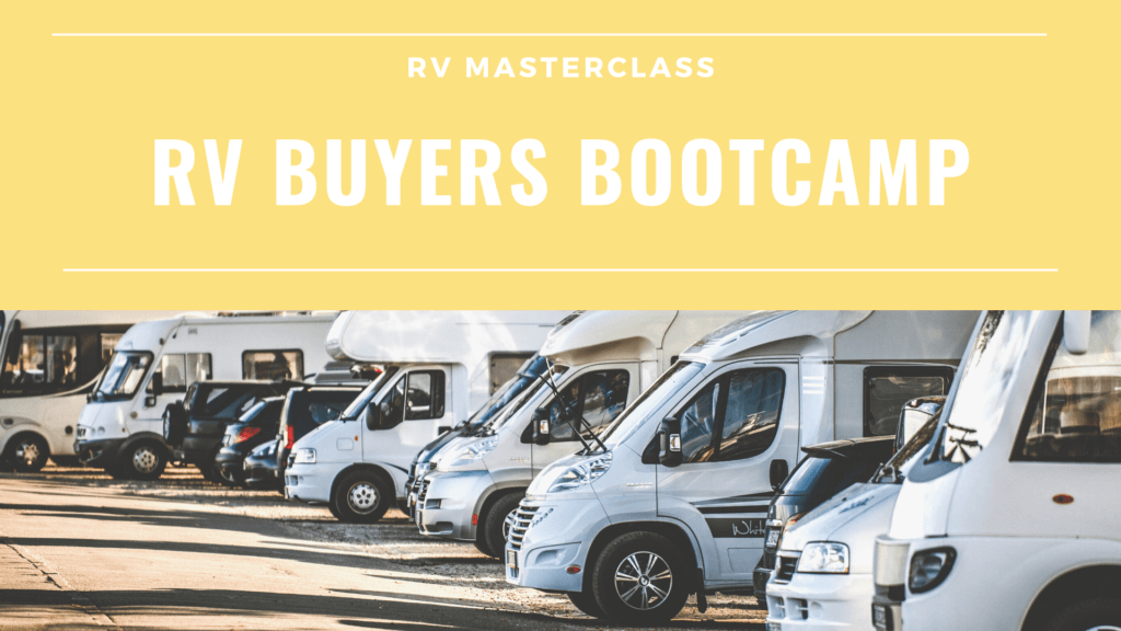 The cover art for the RV Buyers Bootcamp course by RV Masterclass.