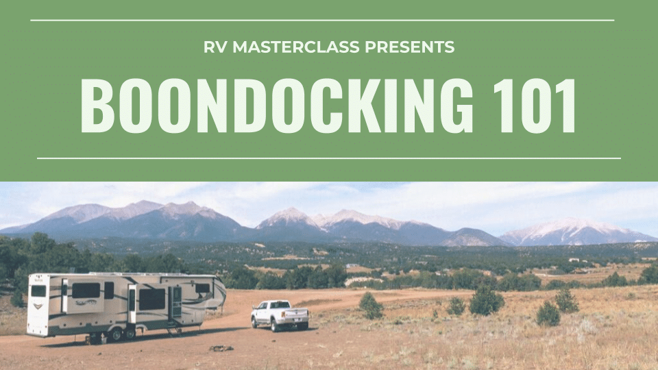 The cover art for the Boondocking 101 course by RV Masterclass.