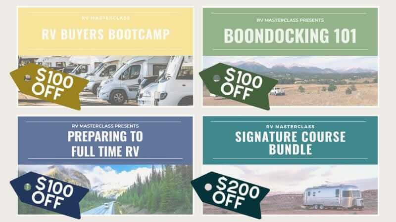 The three RV Masterclass courses and the Signature Bundle course covers with discounts over them.