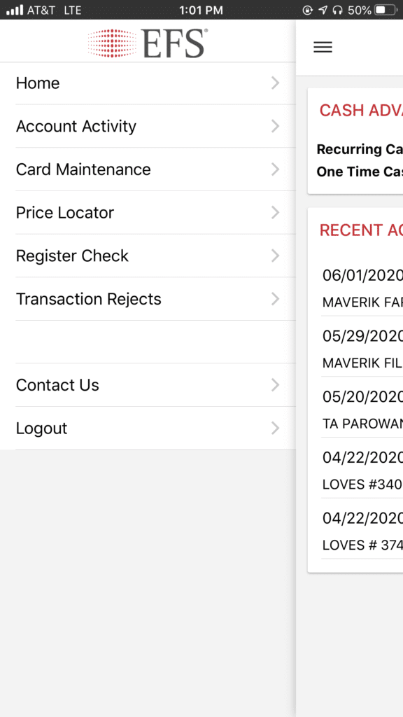 EFS CardControl app used by TSD Logistics for their discount fuel program showing the menu selection