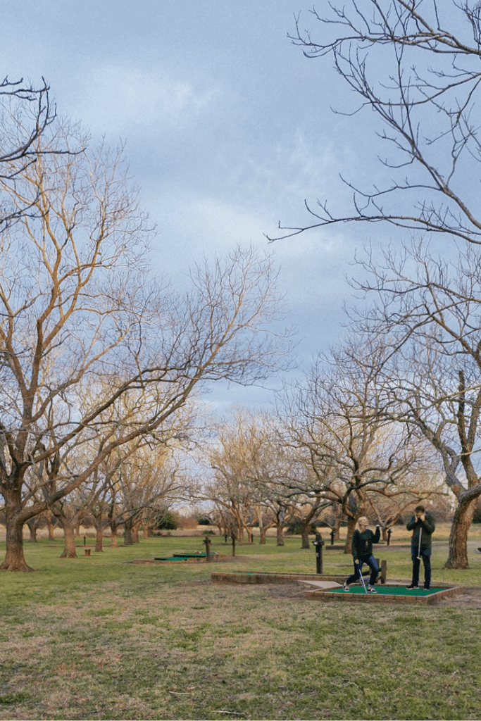 We played mini-golf in the middle of a 100+ year old pecan grove in Thousand Trails Colorado River while heading to San Antonio.