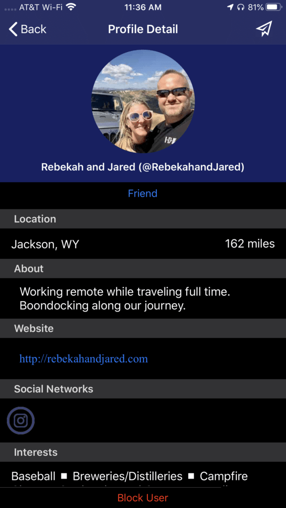 Viewing a profile in the Nomad Near Me app.
