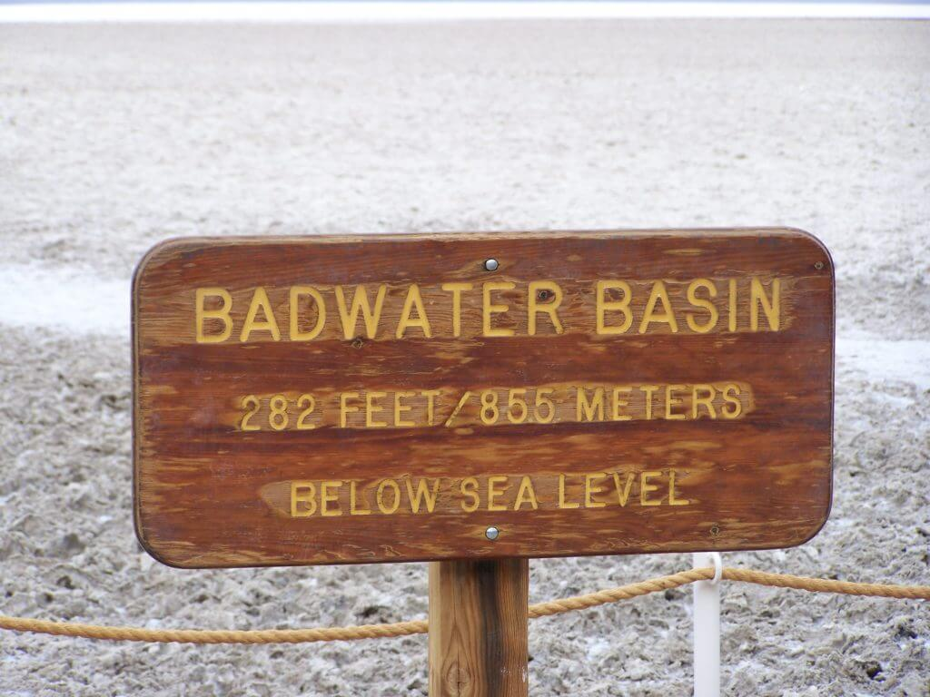 Sign denoting Badwater Basin is 282 feet below sea level in Death Valley National Park