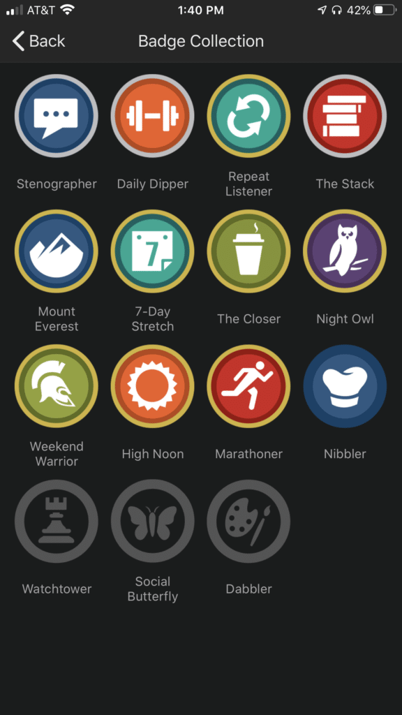 Badge Collection in Audible App