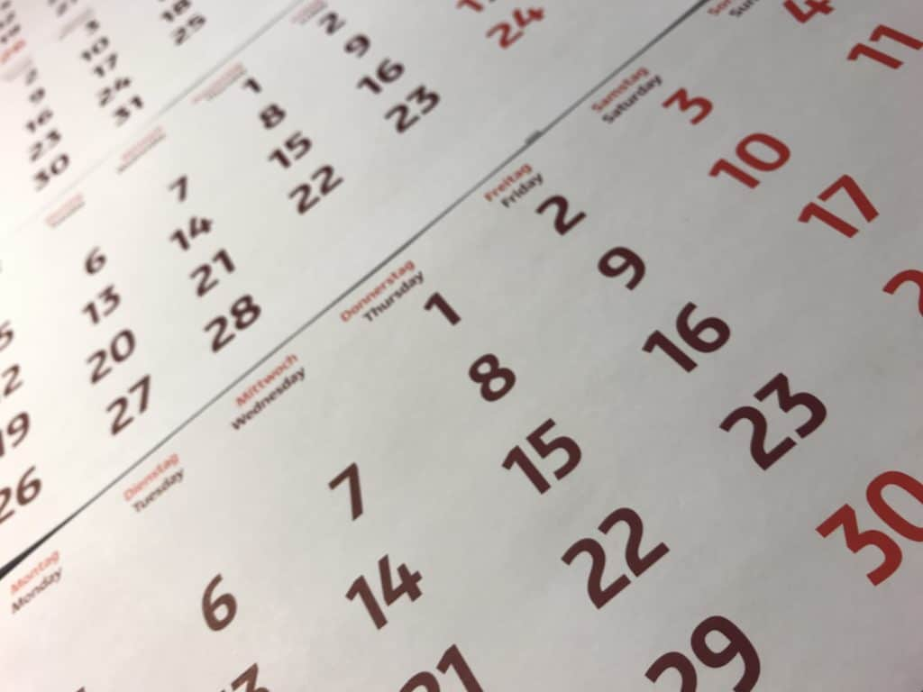Calendar to keep track of how often you should sanitize your RV fresh water tank