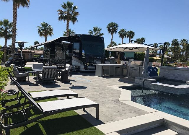 Personal spa and pool at the Motorcoach Country Club Luxury RV resort in Indio, CA