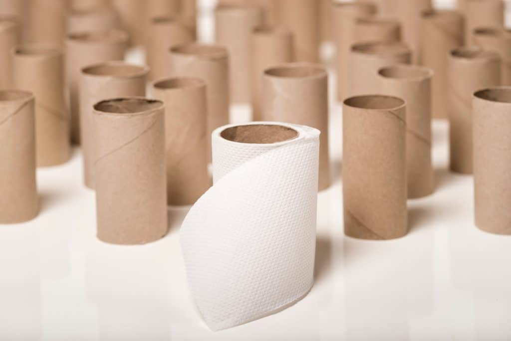 empty toilet paper rolls all stacked up