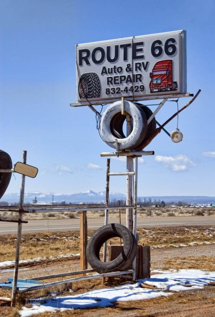 Route 66 Auto & RV Repair sign of an independent RV repair shop