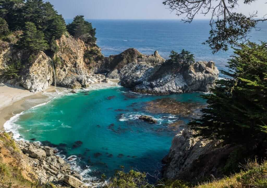 Julia Pfeiffer Burns State Park, a waterfall flowing into the ocean, one of the best things to see in Big Sur.