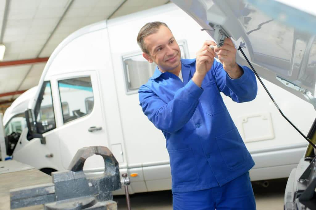 service tech with rv