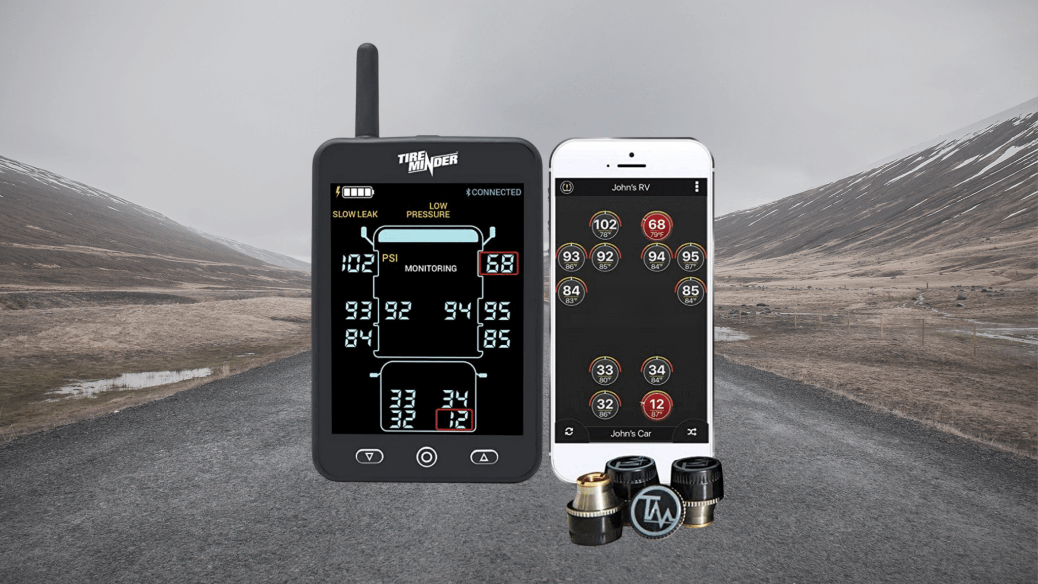 TireMinder RV TPMS device with a road background