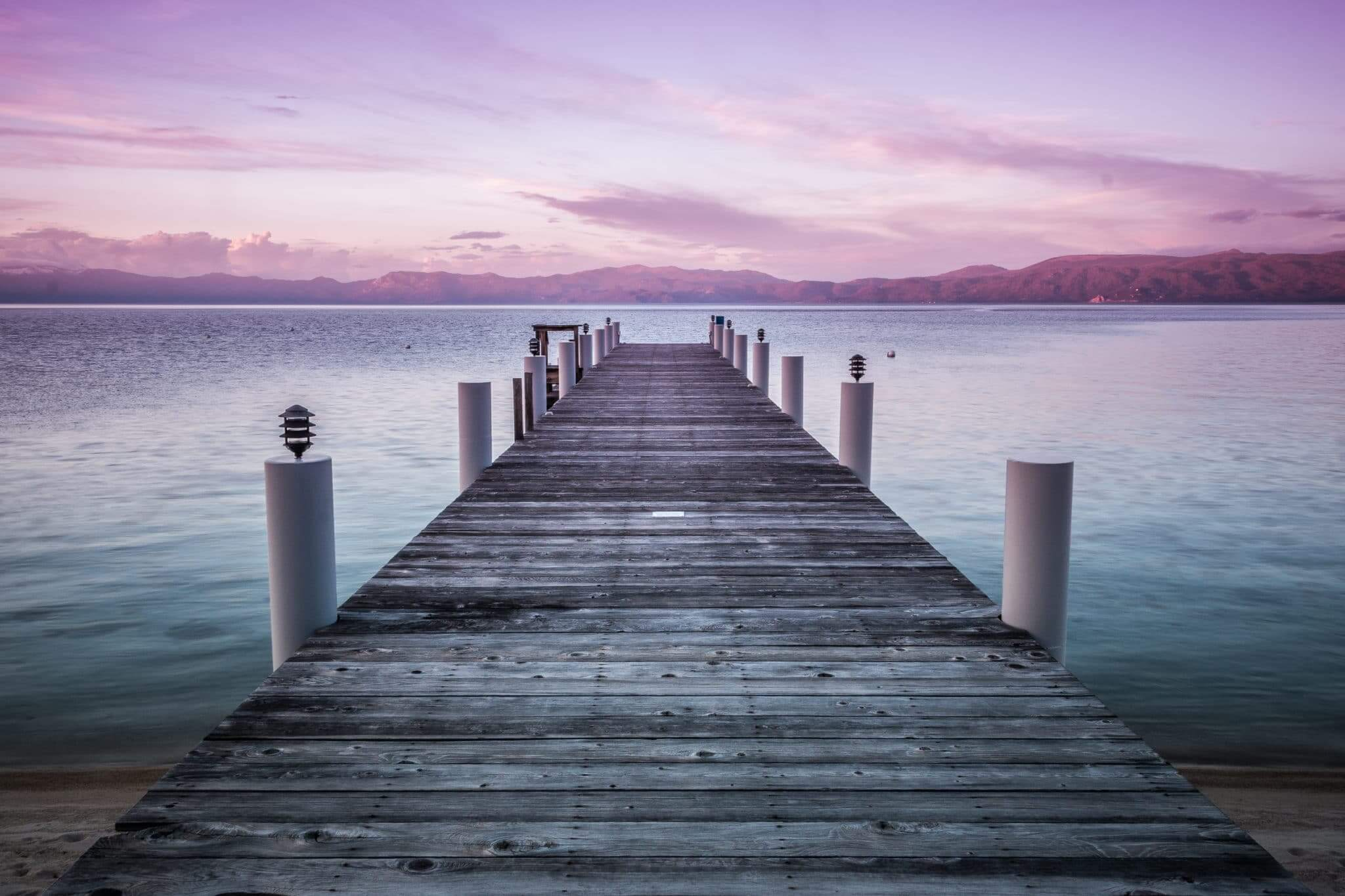Sunset view of Lake Tahoe from a pier