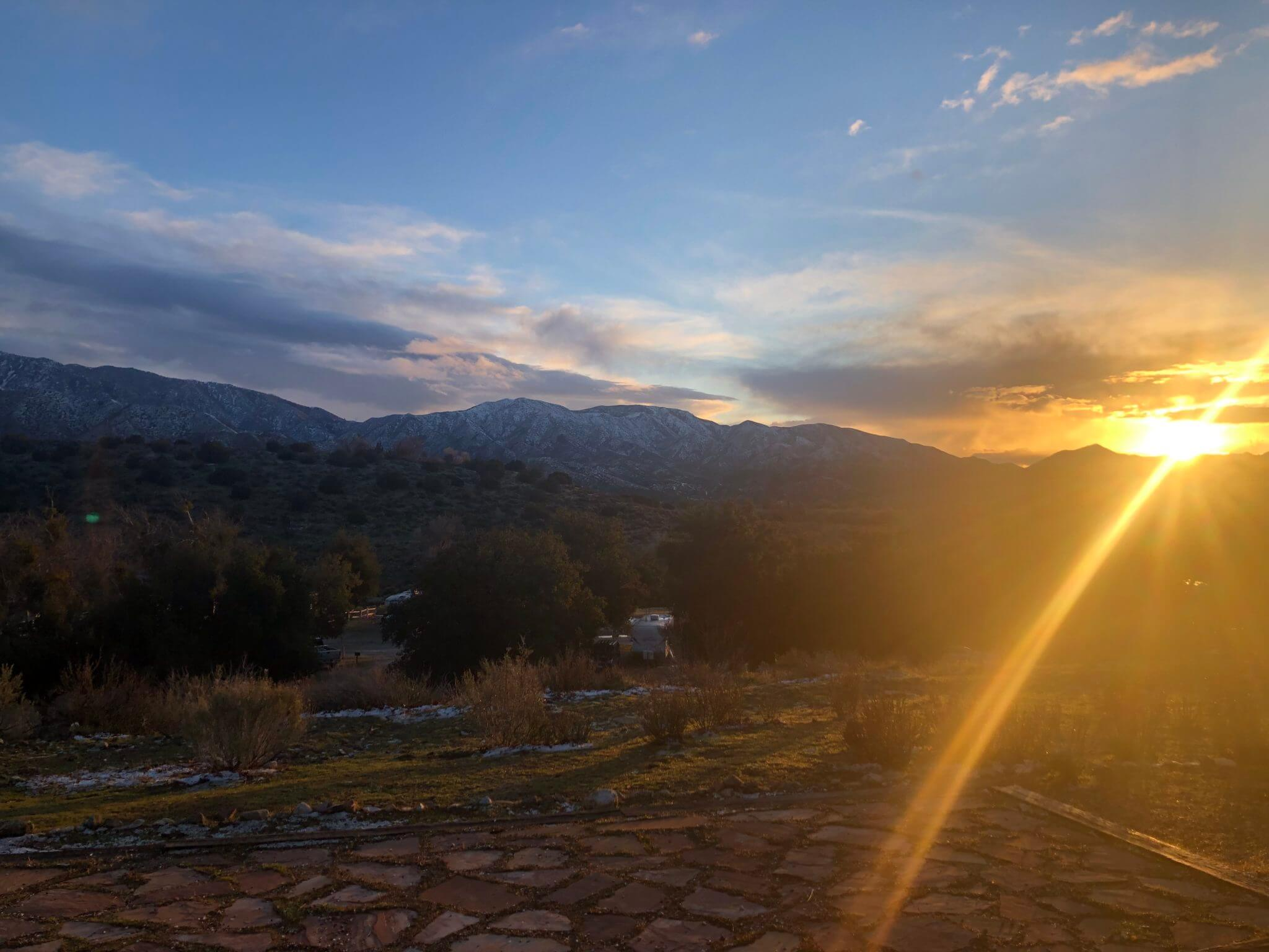 Sunset on a campsite in Thousand Trails Soledad Canyon in Acton, CA