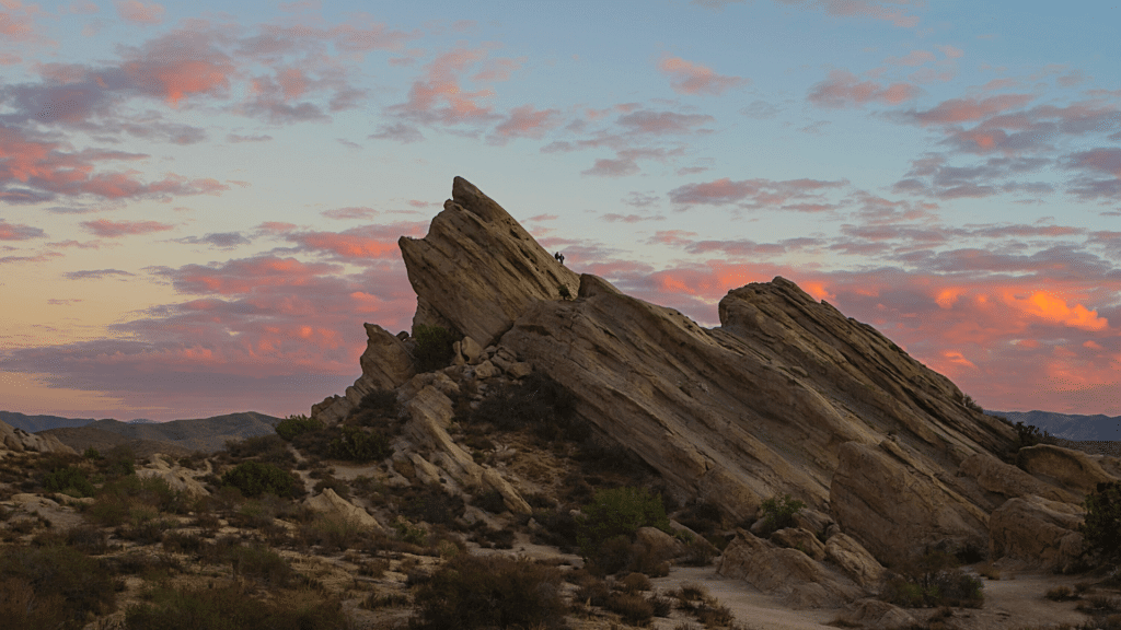 Vasquez rocks hiking area is nearby Thousand Trails Acton