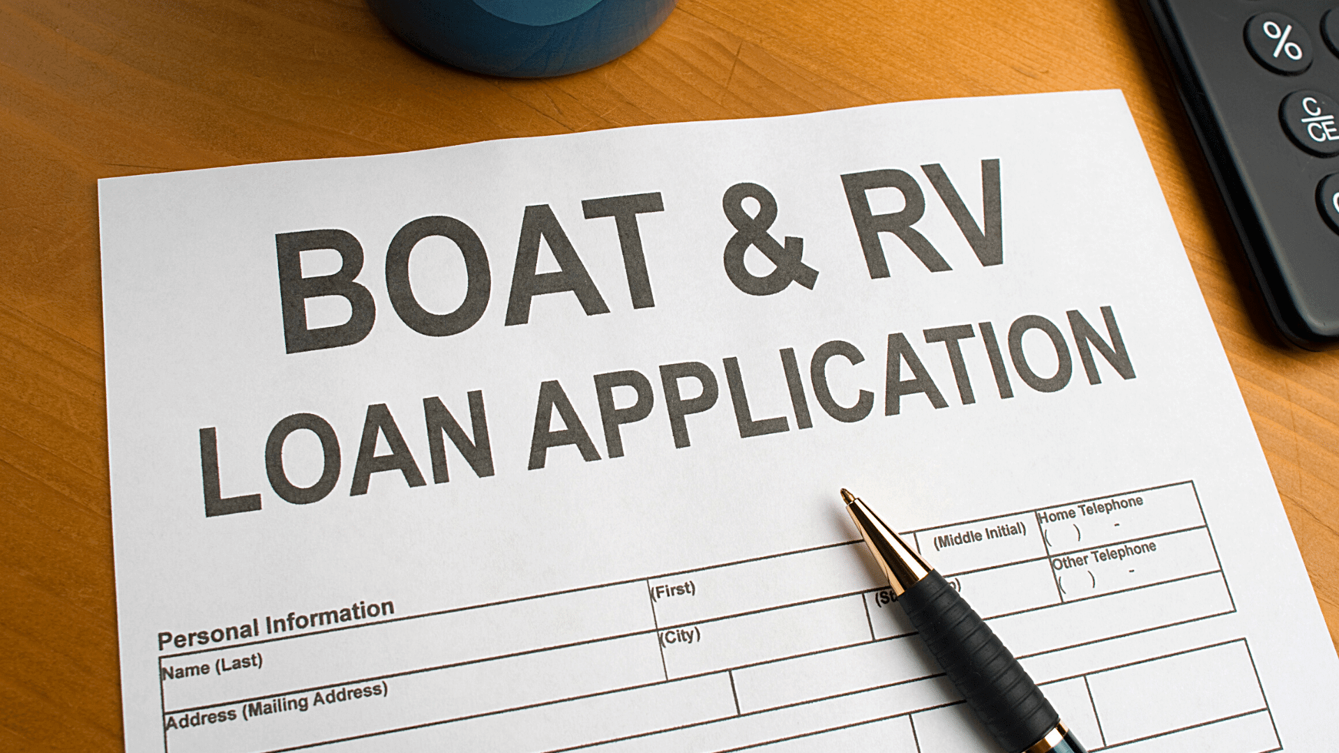 RV Financing documents for an RV loan