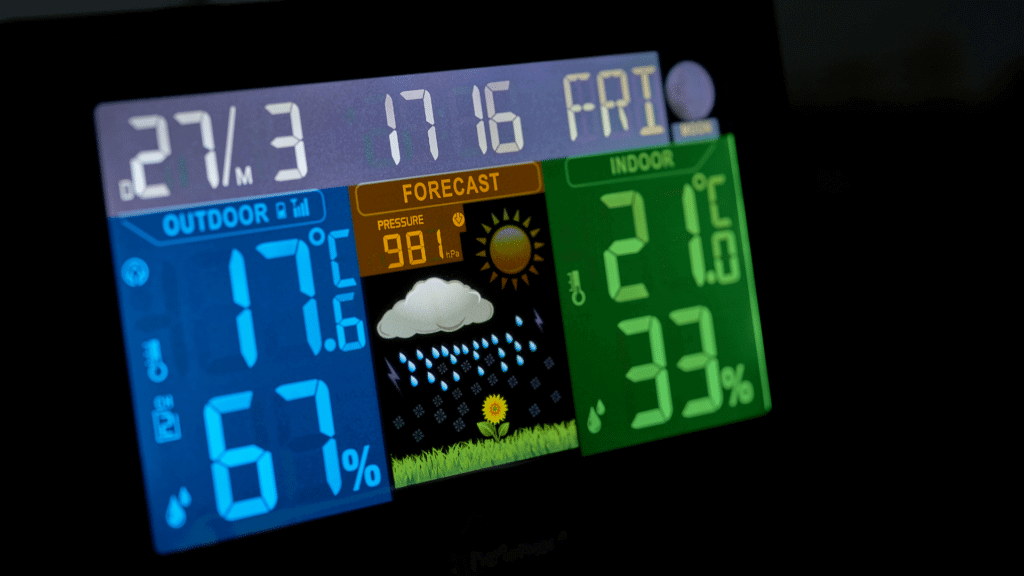 front of portable rv weather station showing inside and outside temperature