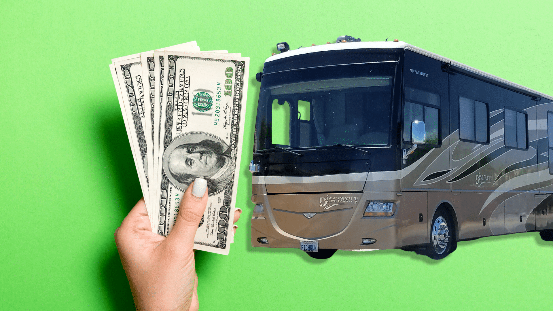 man holding money and luxury rv