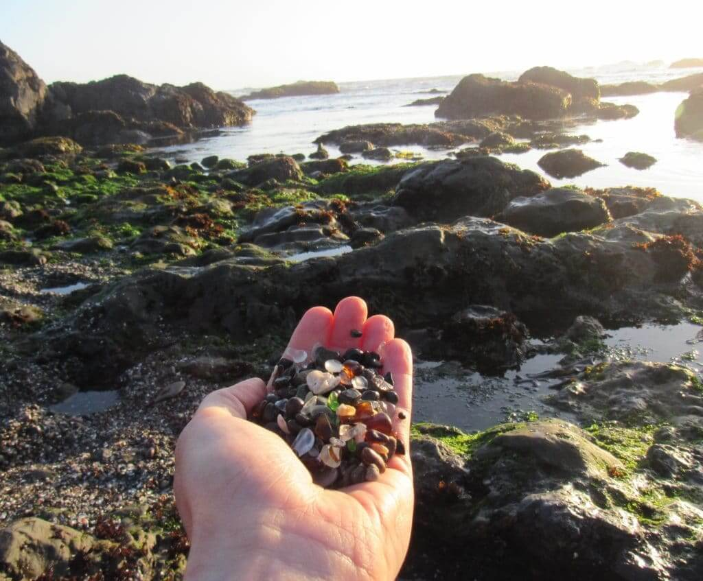 Handful of glass from Glass Beach in Fort Bragg