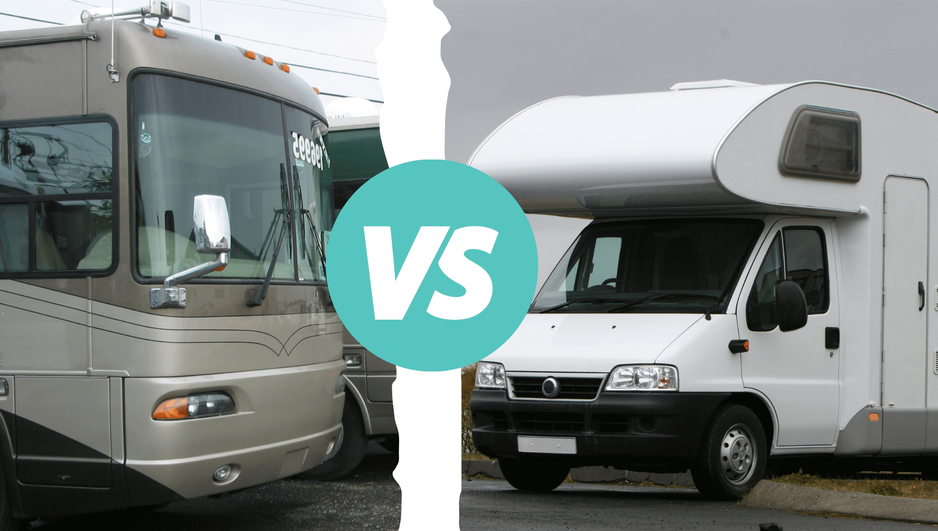 On the left is a Class A Motorhome and on the right is a Class C motorhome to showcase Class A vs. Class C differences.