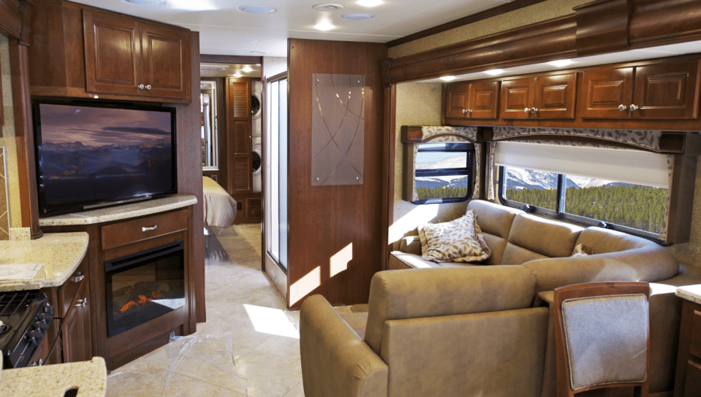 Cozy interior of an RV living room with best roku for RV