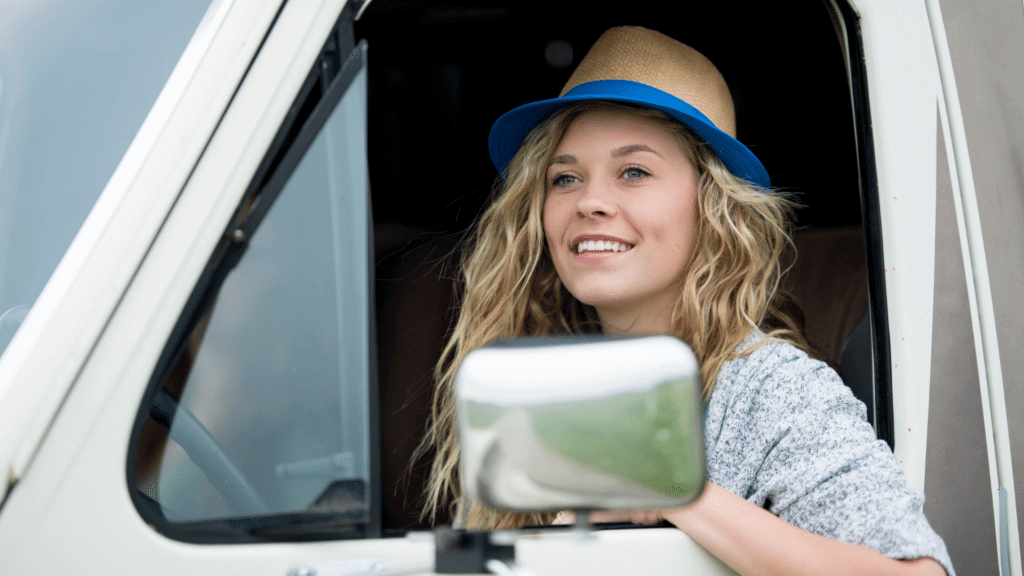 Women driving RV to see if it is the right one