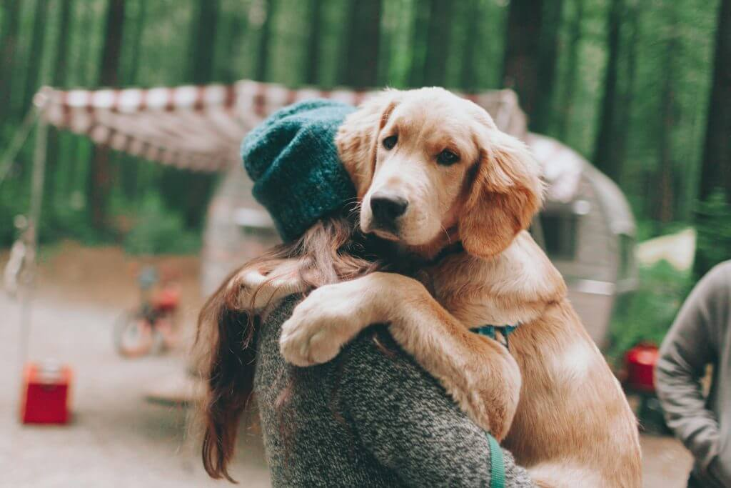 Women holding puppy in her arms while camping