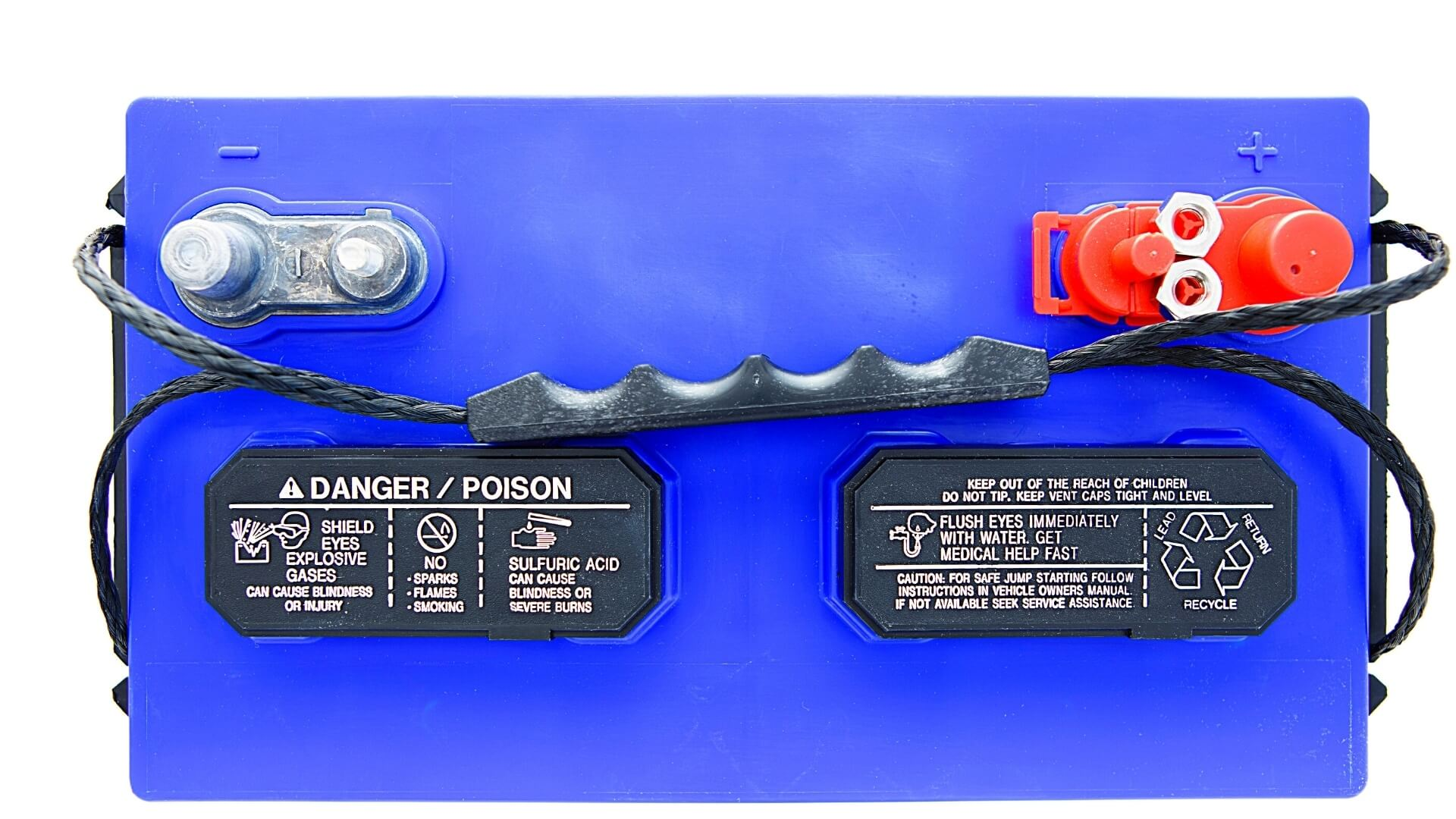 12v RV battery with red positive terminal on the right side