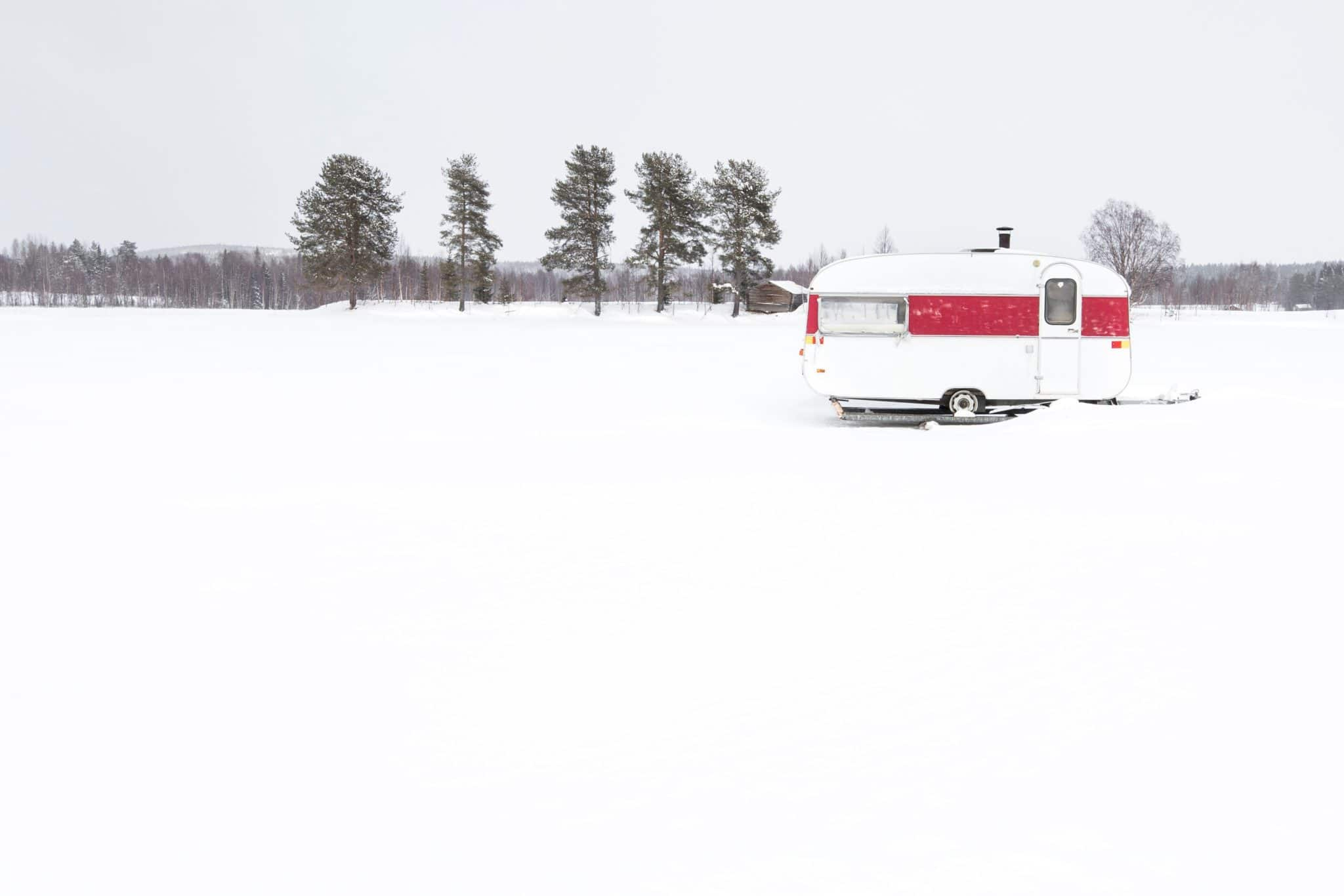 Winterized RV in the snow