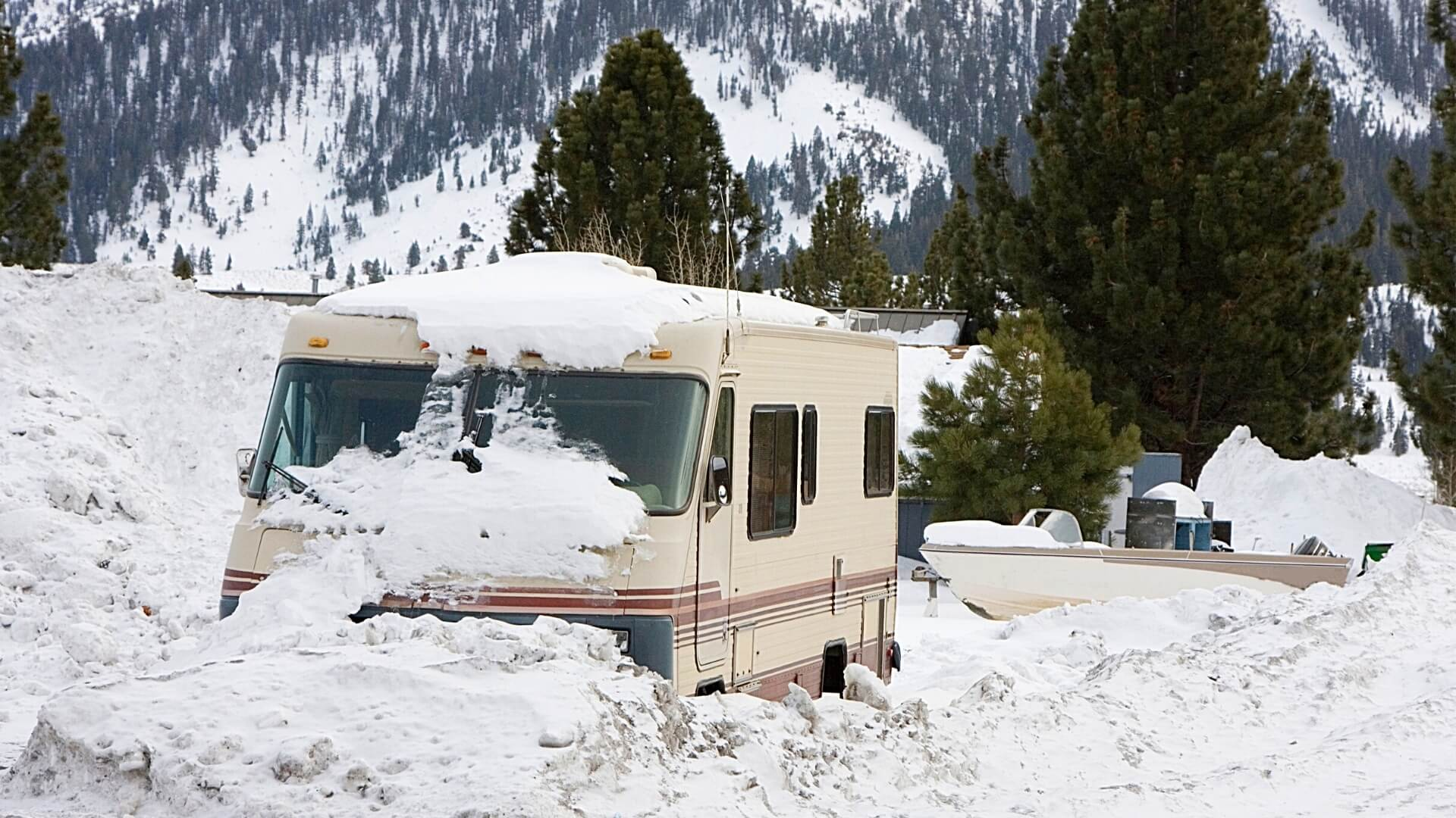 RV stuck in the snow