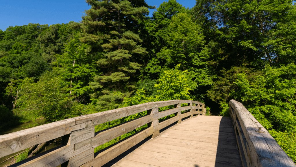 A wooden bridge crosses a creek in Starved Rock State Park. The trees are a lush green and the skies are blue.