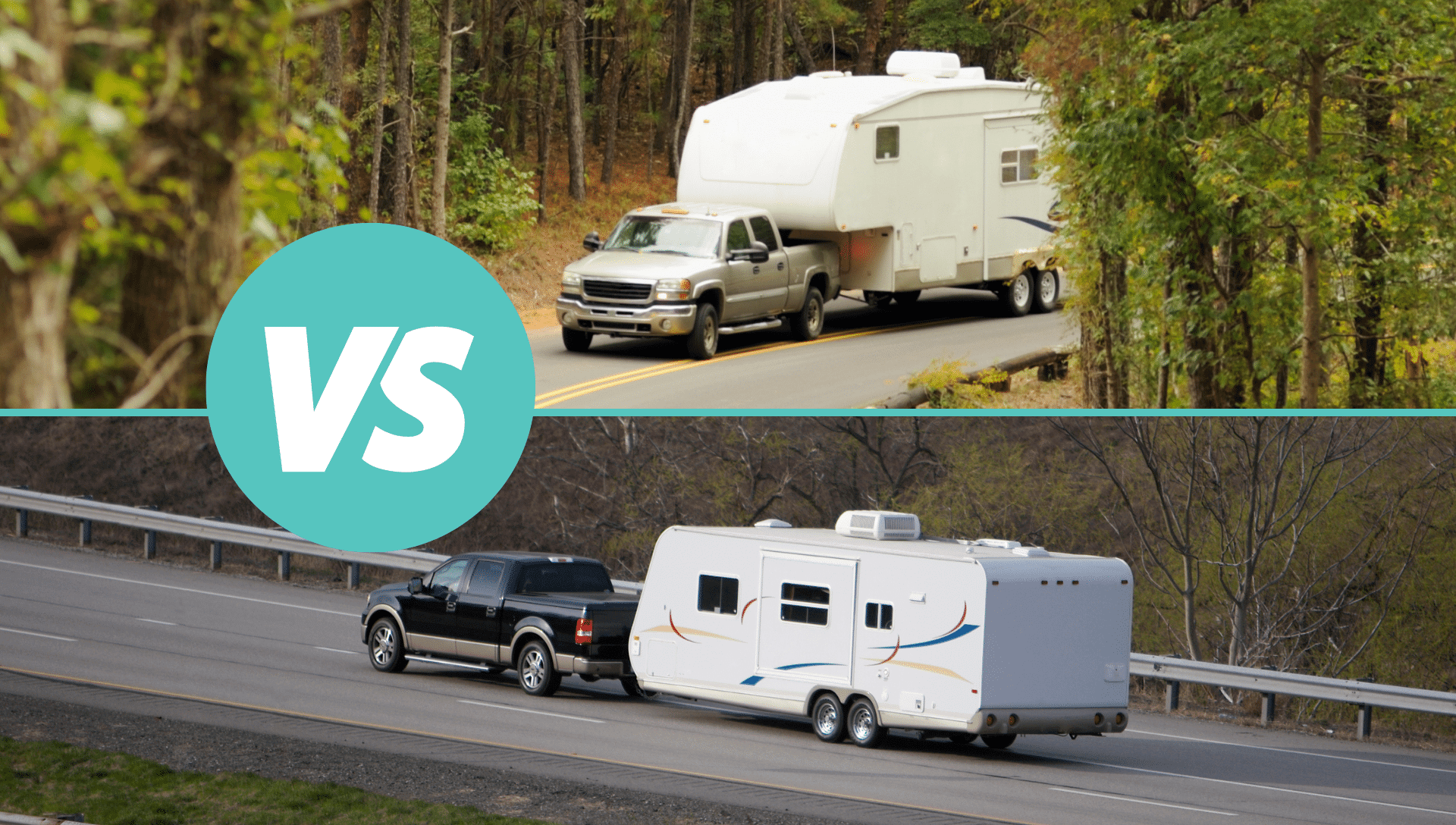 The top image is a fifth wheel being towed behind a pickup truck. The bottom image is a travel trailer being towed by a pickup truck. We compare the differences of a 5th wheel vs a travel trailer.