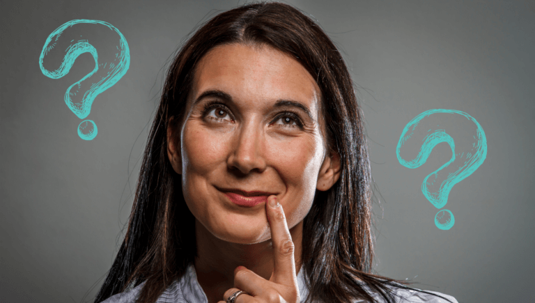 A smiling woman holds one finger to the side of her lips while contemplating if the Good Sam Extended Warranty is a bargain. There are question marks around her.