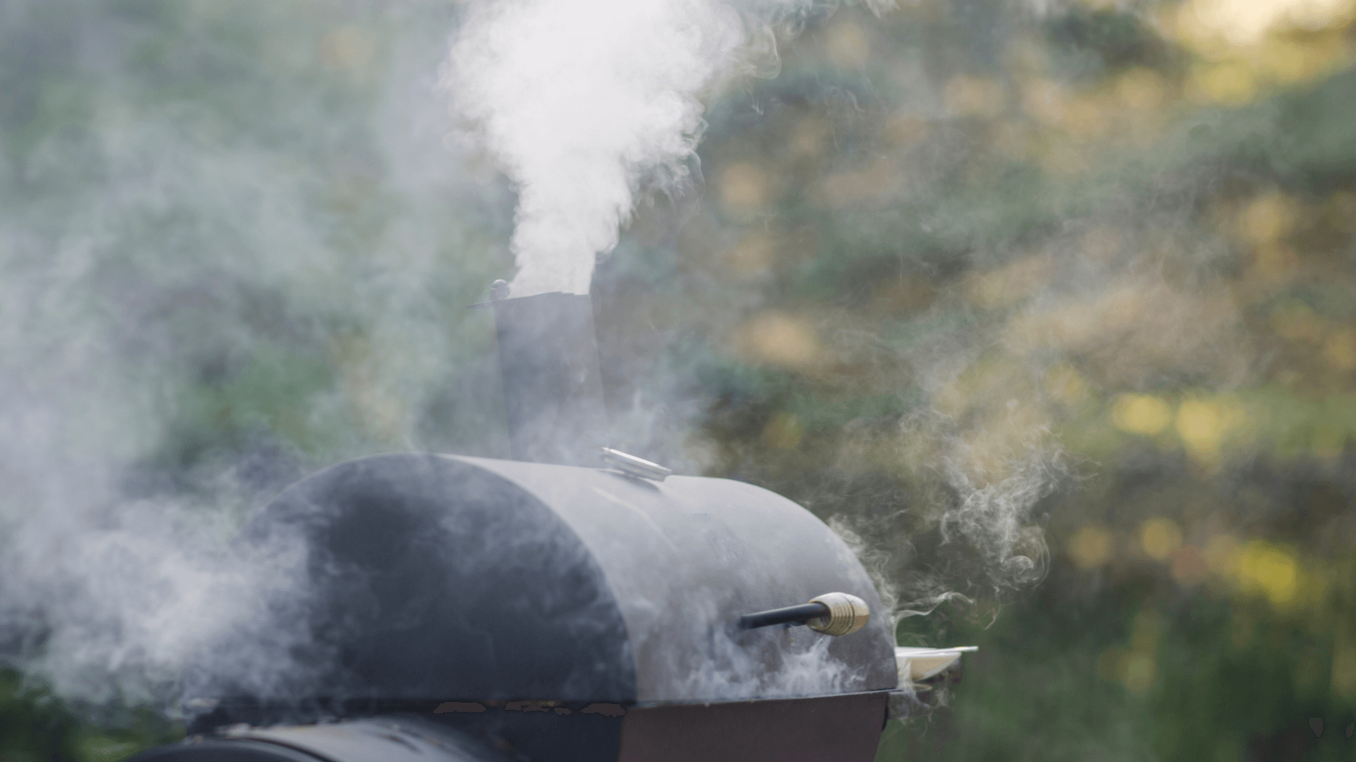 A smoker is in full use with smoke coming out the top and filling most of the image. There are green trees in the background.
