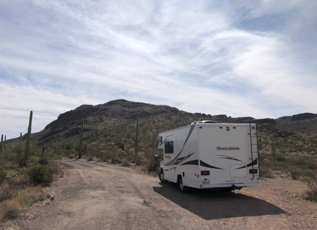 RV parked on the side of the road at Organ Pipe Cactus National Monument