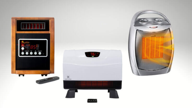 3 different types of RV electric heaters against a white background.