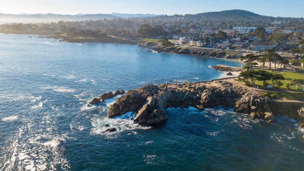 An aerial view of Monterey Bay. This type of view could be available to you when selecting your Santa Cruz camping spot!