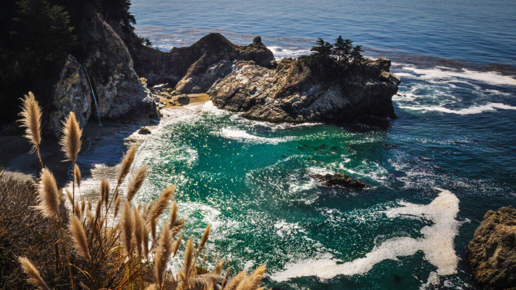 Julia Pfieffer State park's most iconic view from along the cliffside is the waterfall flowing into the jade colored ocean with coastal plants and rocks in the foreground.