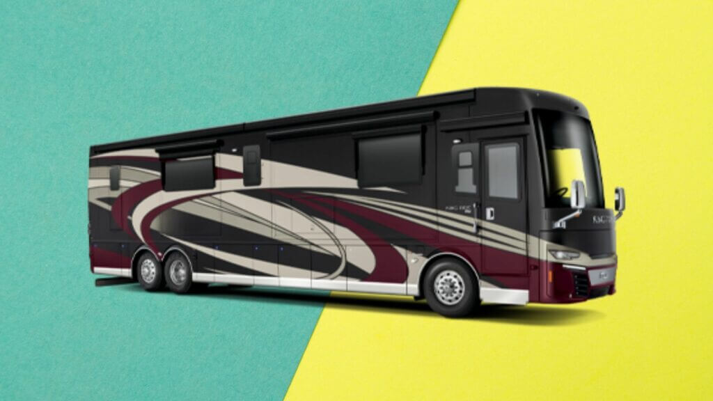 Motorhome on green and yellow background
