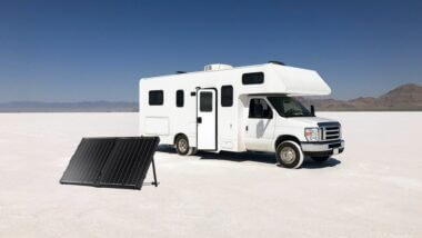 Portable Solar Panel deployed in front of RV while boondocking