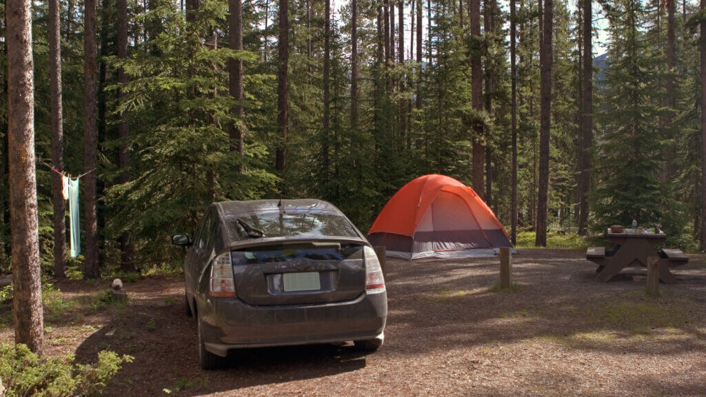 A prius is parked in a camping spot at Blue Ridge Reservoir in Arizona.