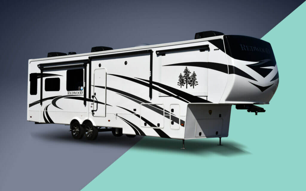 A Redwood RV on a grey and mint background. Thor is who makes crossroads RV.
