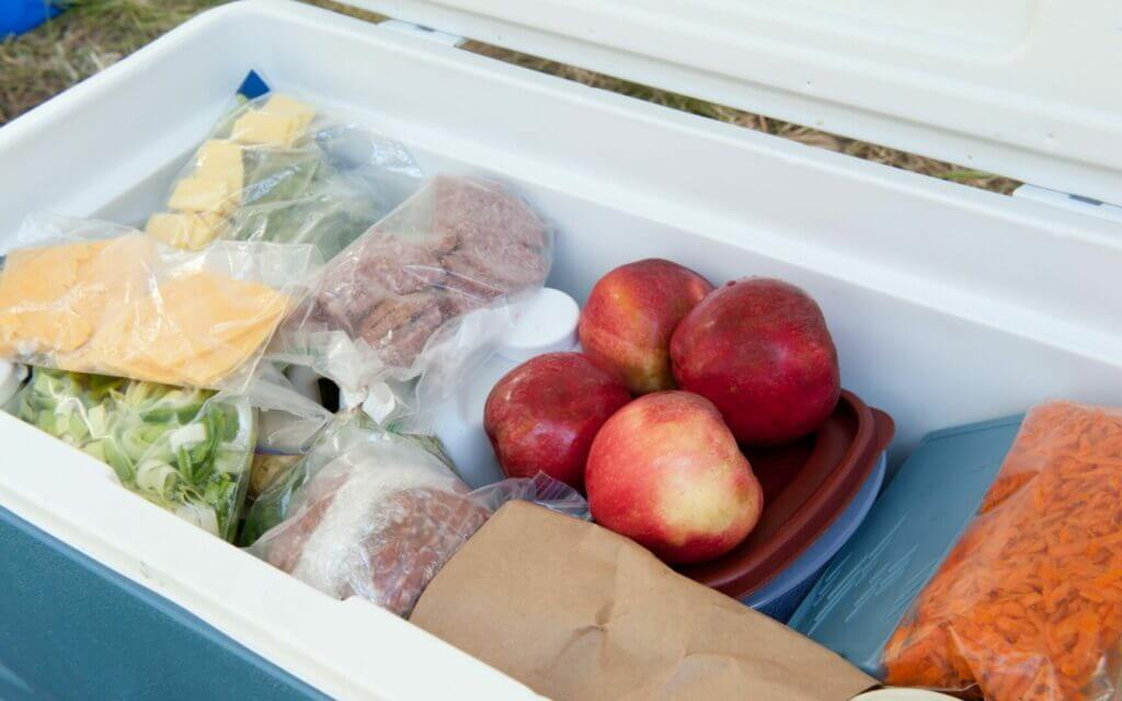Meat, cheese, fruit, and other food all stacked into a portable cooler