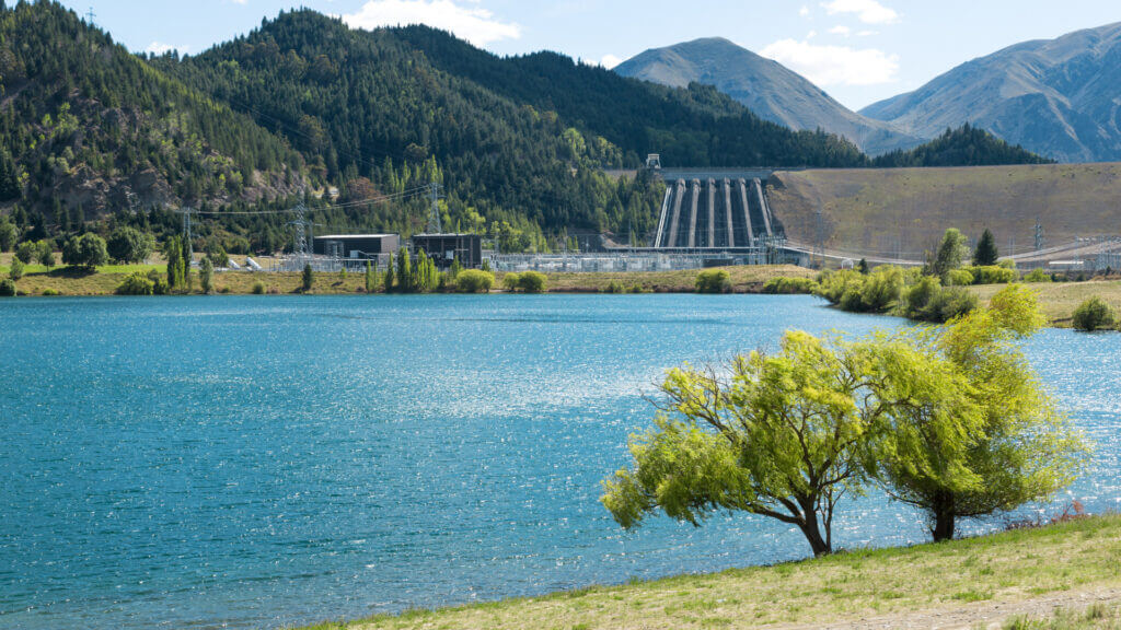 A blue sky day over the Green Mountain Reservoir dam and a great place to camp in Colorado.